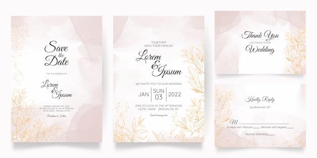 Акварельный пастельный свадебный пригласительный шаблон установлен с золотым цветочным художественным оформлением
