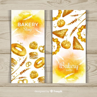 Watercolor pastries banner template