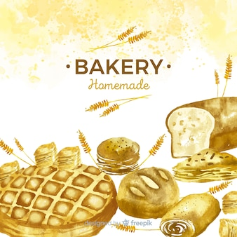 Watercolor pastries and bread background