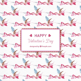 Watercolor patter of valentine arrows