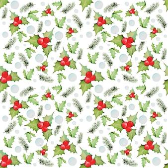 クリスマスと新年の要素からの水彩画のパターン