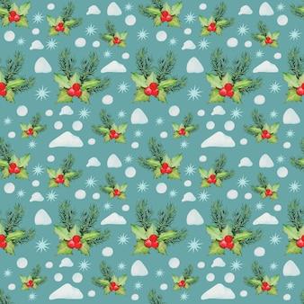クリスマスと元旦の水彩画柄