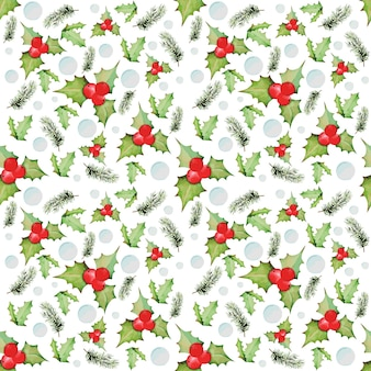Watercolor pattern from christmas and new year elements