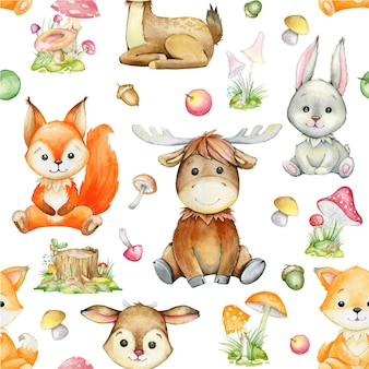 Watercolor pattern, on an isolated background. squirrel, deer, elk, rabbit, fox, plants. forest animals in cartoon style.