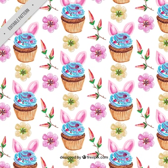 Watercolor pattern of easter cupcakes