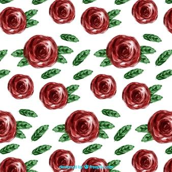 붉은 꽃의 수채화 패턴
