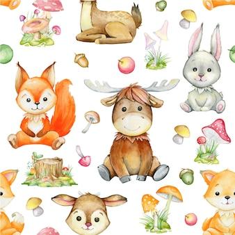 격리 된 배경에 수채화 패턴입니다. 다람쥐, 사슴, 엘크, 토끼, 여우, 식물. 만화 스타일의 숲 동물.