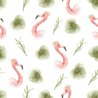 Watercolor pattern of paradise flamingo