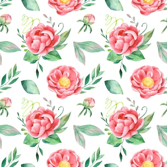 Watercolor pattern peonies and leaves