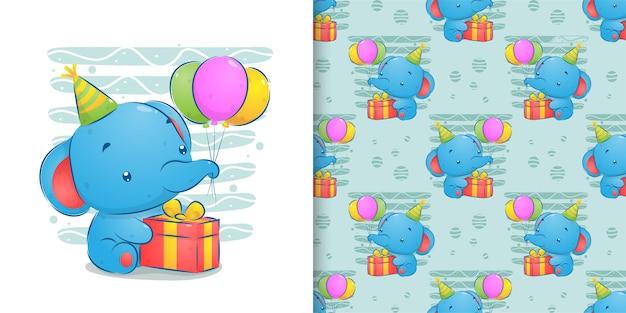 Watercolor pattern set of baby elephant celebrate birthday illustration