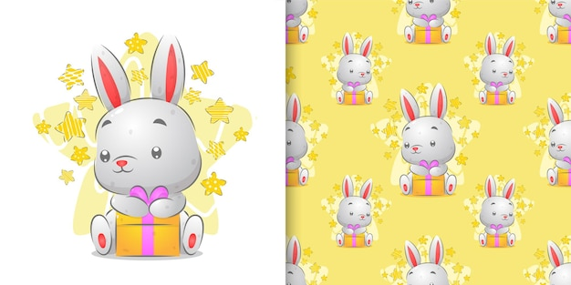 Watercolor pattern set of little rabbit holding colored gift illustration