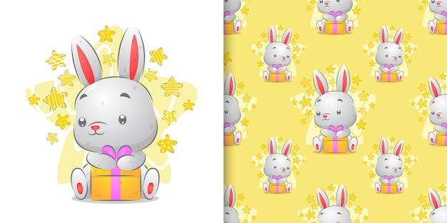 色付きのギフトイラストを保持している小さなウサギの水彩パターンセット