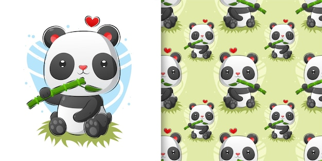 Watercolor pattern set of panda eating fresh bamboo in forest illustration