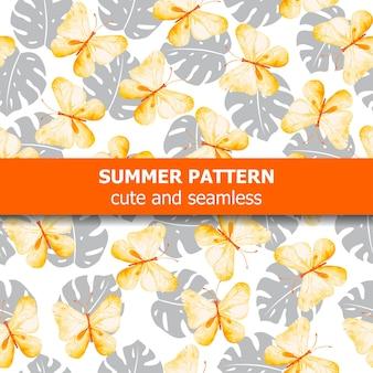 나비와 이국적인 잎이 있는 수채화 패턴입니다.