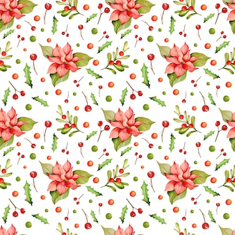 Watercolor pattern with christmas poinsettia flower
