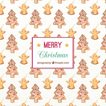 クリスマスツリーや天使と水彩パターン