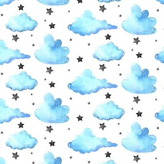 雲と水彩のパターン