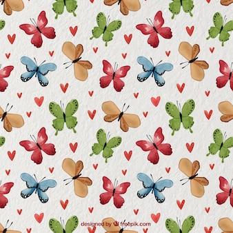 Modello acquerello con farfalle colorate