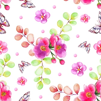 色とりどりの花で水彩のパターン
