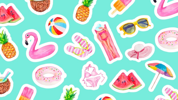 귀여운 여름 휴가 물건이 있는 수채화 패턴 음식 음료 과일 플라밍고와 소녀 컬렉션...