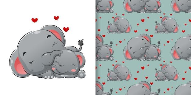 幸せな顔のイラストで眠っている象と水彩パターン