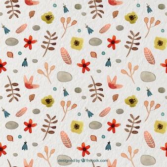 꽃 장식으로 수채화 패턴