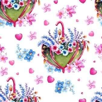 Акварельный рисунок с цветами, зонтиками и сердечками