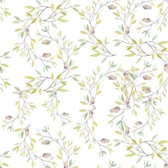 잎과 흰색 바탕에 오크 도토리와 수채화 패턴입니다. 벡터 일러스트 레이 션.