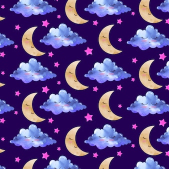 Watercolor pattern with moon and clouds