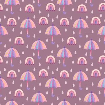 Акварельный узор с розовым зонтиком и каплями дождя на фиолетовом фоне