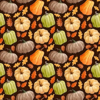 カボチャと葉の水彩パターン