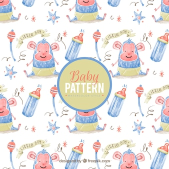 Watercolor pattern with smiling baby monkey and rattles
