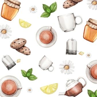 Watercolor pattern with tea set, honey, mint, lemon and cookies
