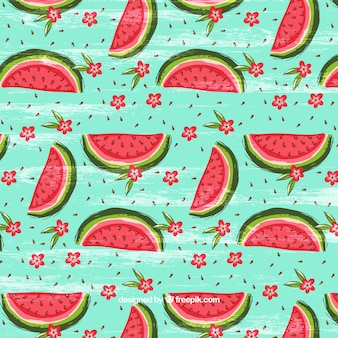 Watercolor pattern with watermelons and flowers background