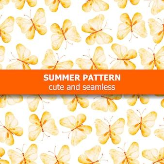 노란 나비와 수채화 패턴입니다.