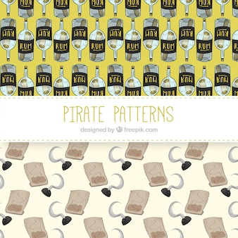 Watercolor patterns of pirate elements
