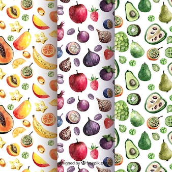 Watercolor patterns with variety of pieces of fruit