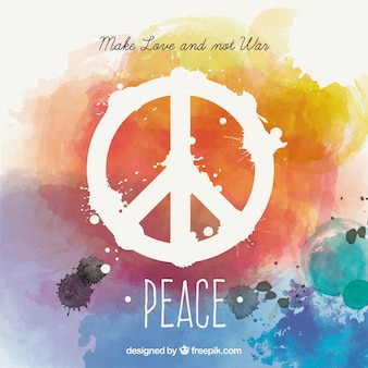 Watercolor peace card in colorful style