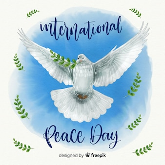 Watercolor peace day background with beautiful realistic dove