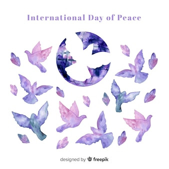 Watercolor peace day background with dove shapes