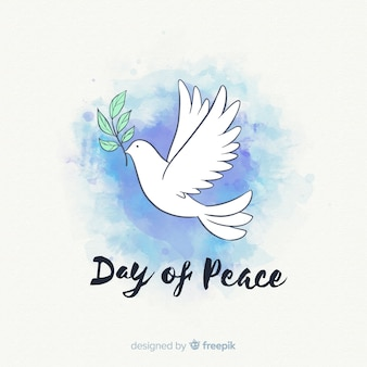 Watercolor peace day background with dove