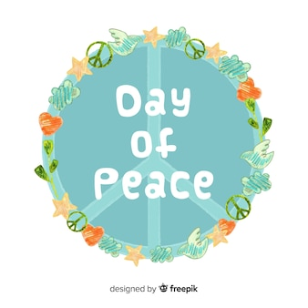 Watercolor peace day background
