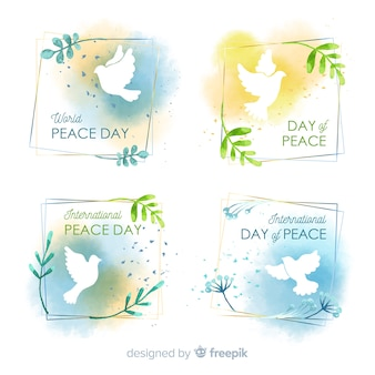 Watercolor peace day badge collection