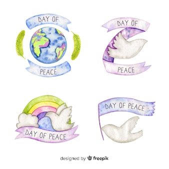 Watercolor peace day label collection
