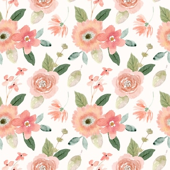 Watercolor peach floral seamless pattern