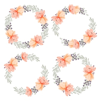 Watercolor peach peony flower wreath circle frame collection