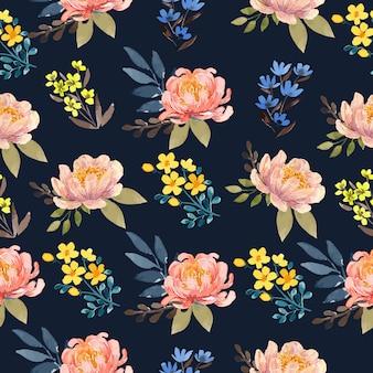 海軍の背景の花のシームレスなパターンの水彩ピーチ牡丹