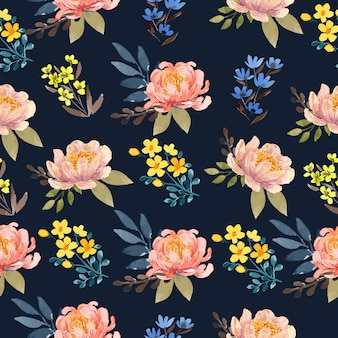 Watercolor peach peony in navy background floral seamless pattern