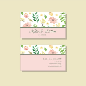 Watercolor peach and yellow floral classic bussiness card template