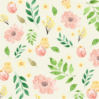 Watercolor peach and yellow floral classic seamless pattern